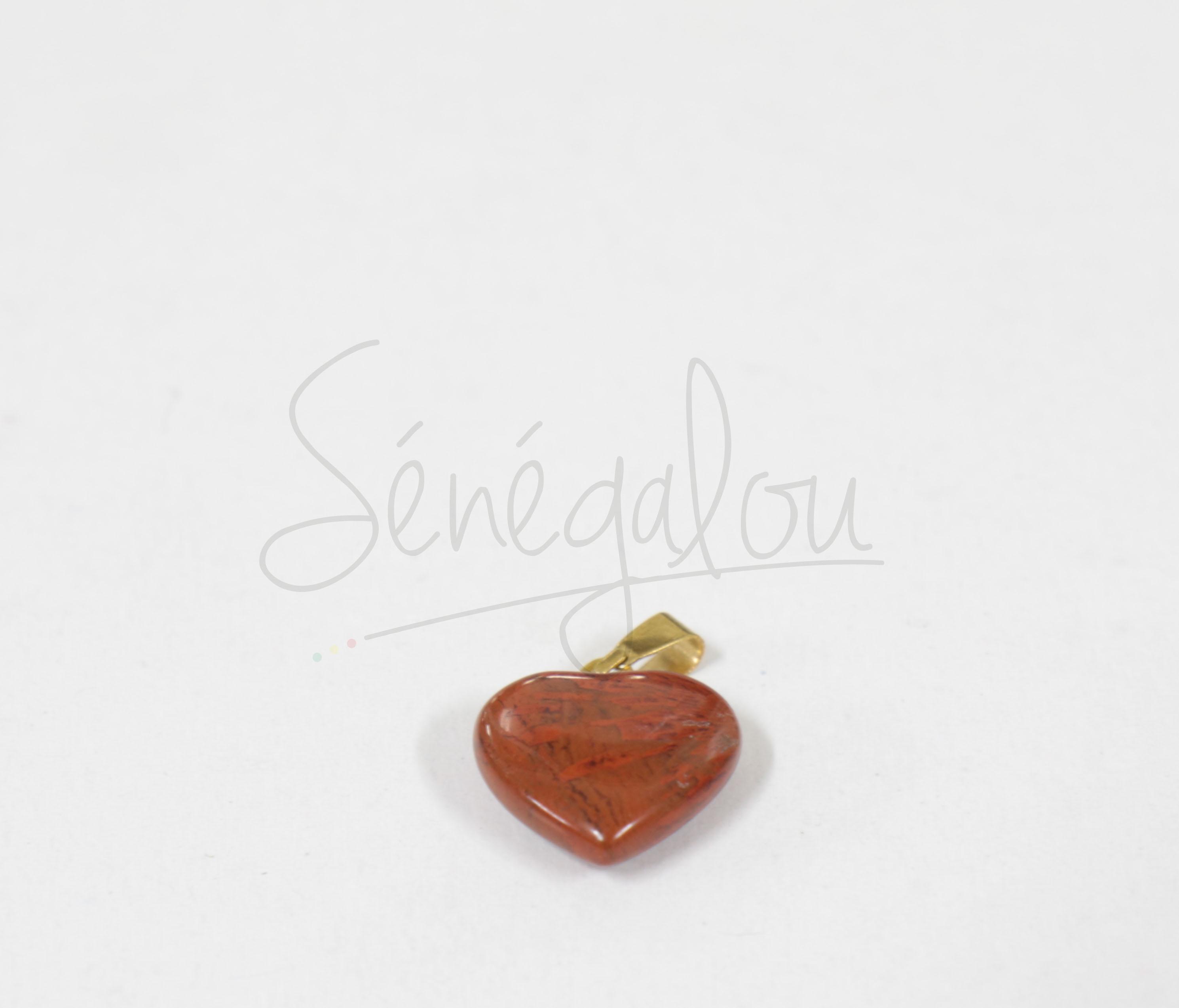 Pendentif Coeur Jaspe Rouge