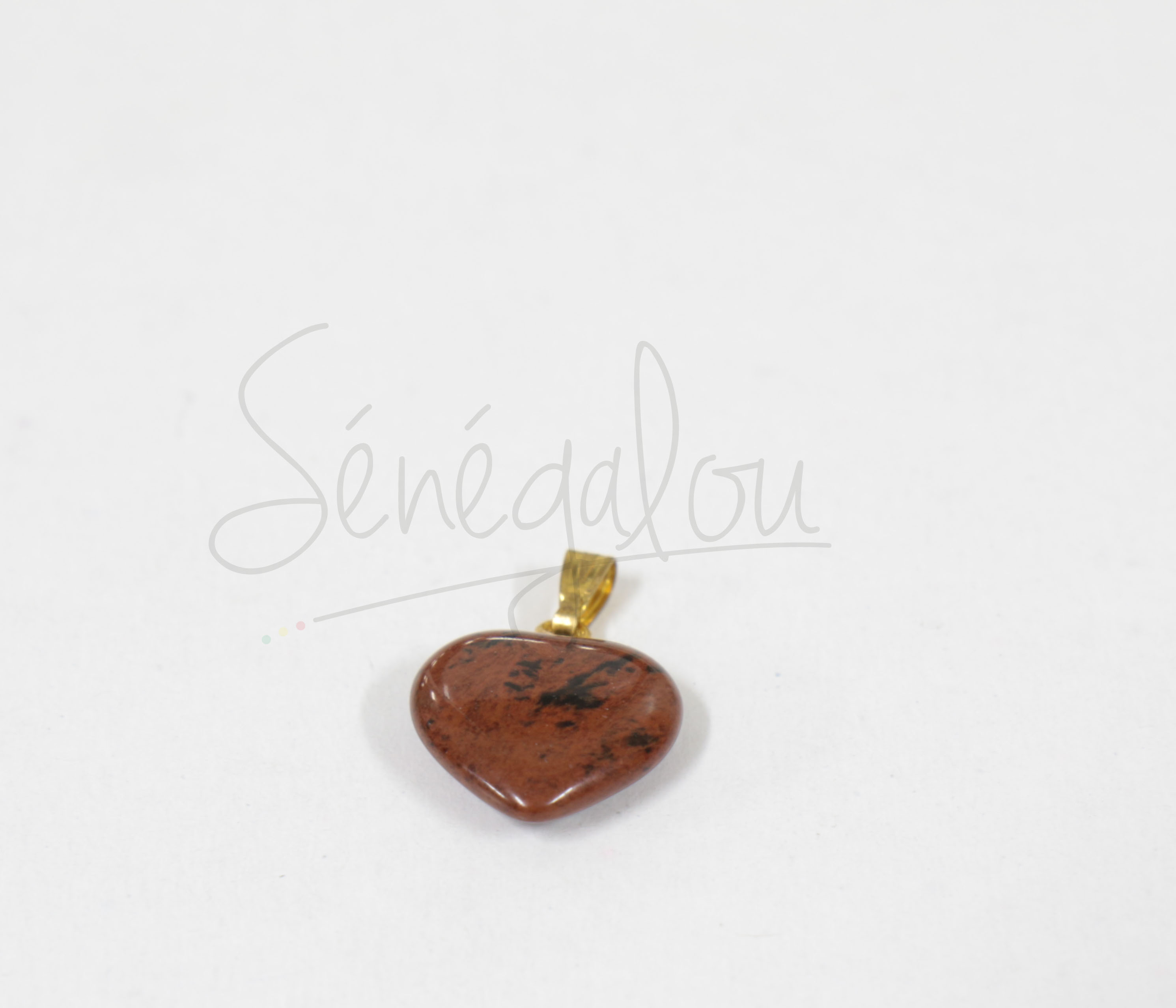 Pendentif Coeur Obsidienne Acajou