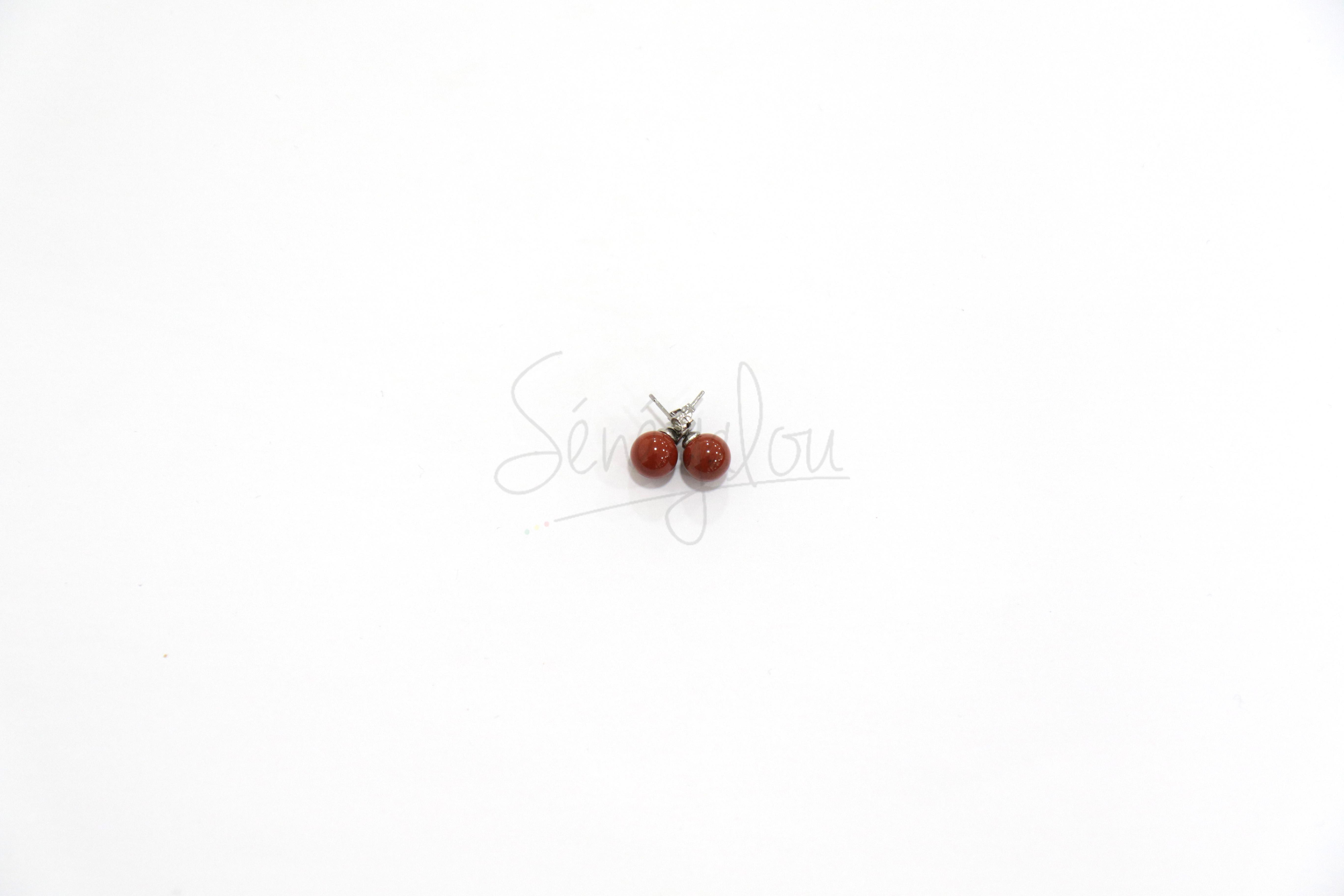 Boucles D'oreilles Jaspe Rouge 8mm