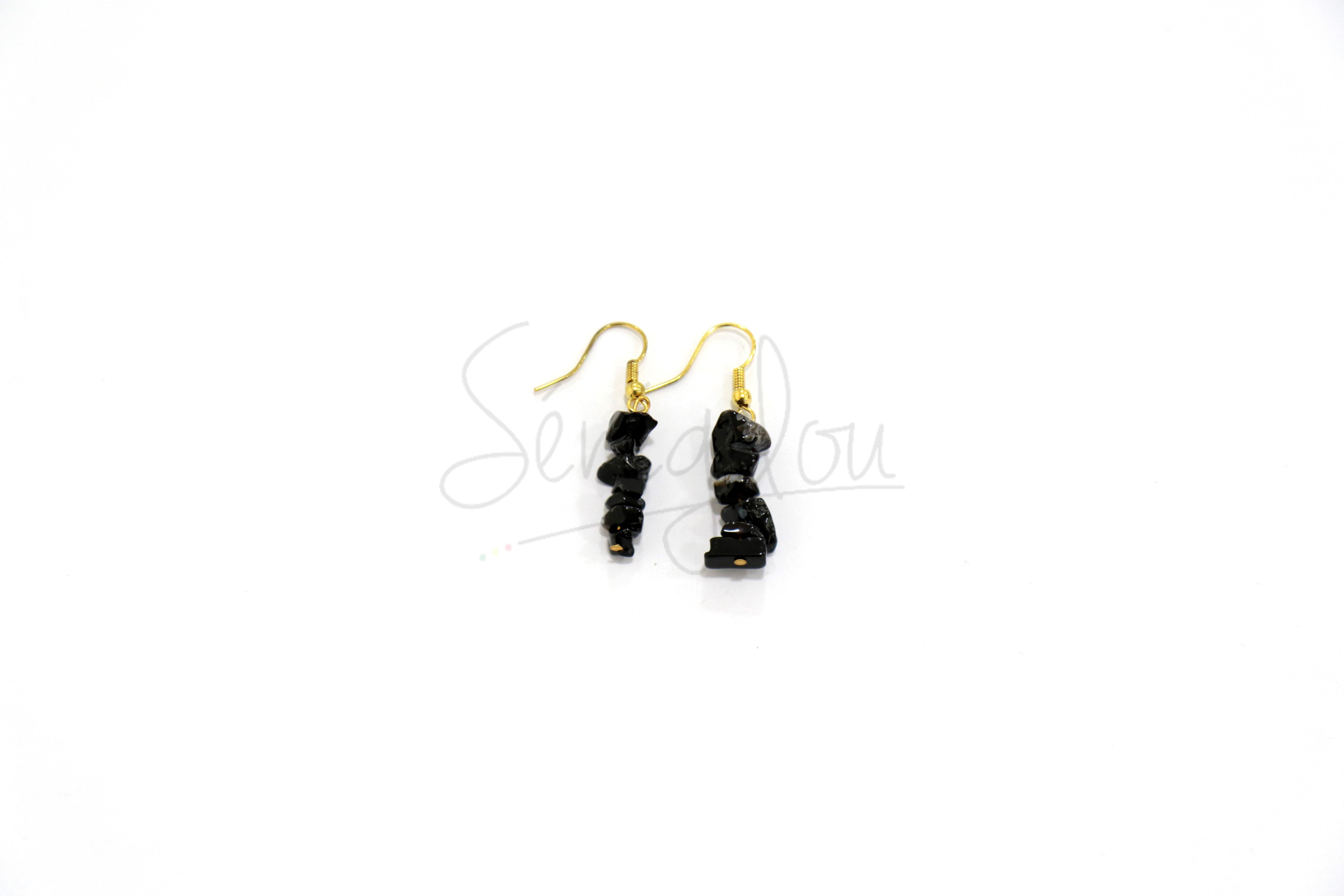 Boucles d'oreilles Onyx 2cm