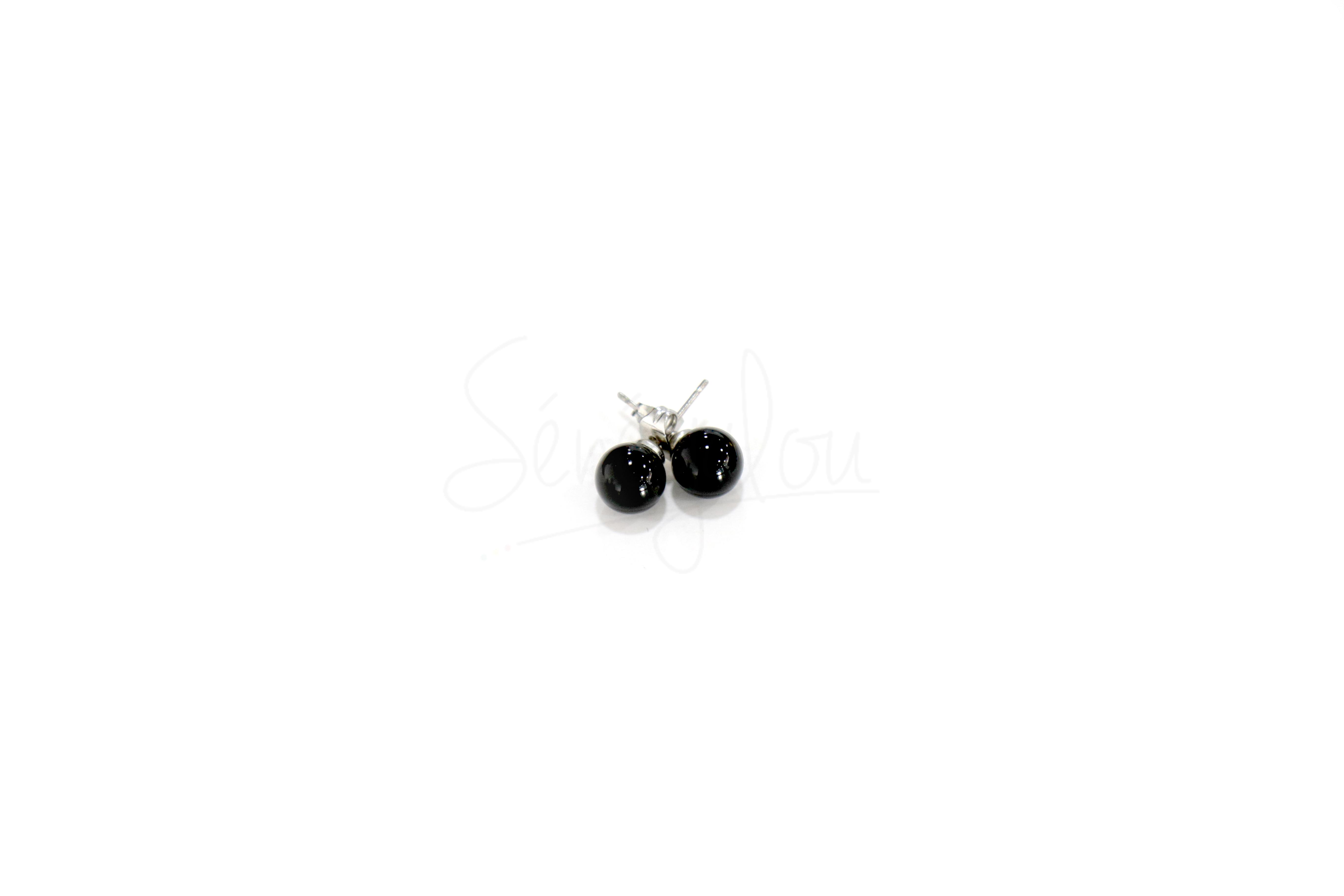 Boucles D'oreilles Onyx 8mm