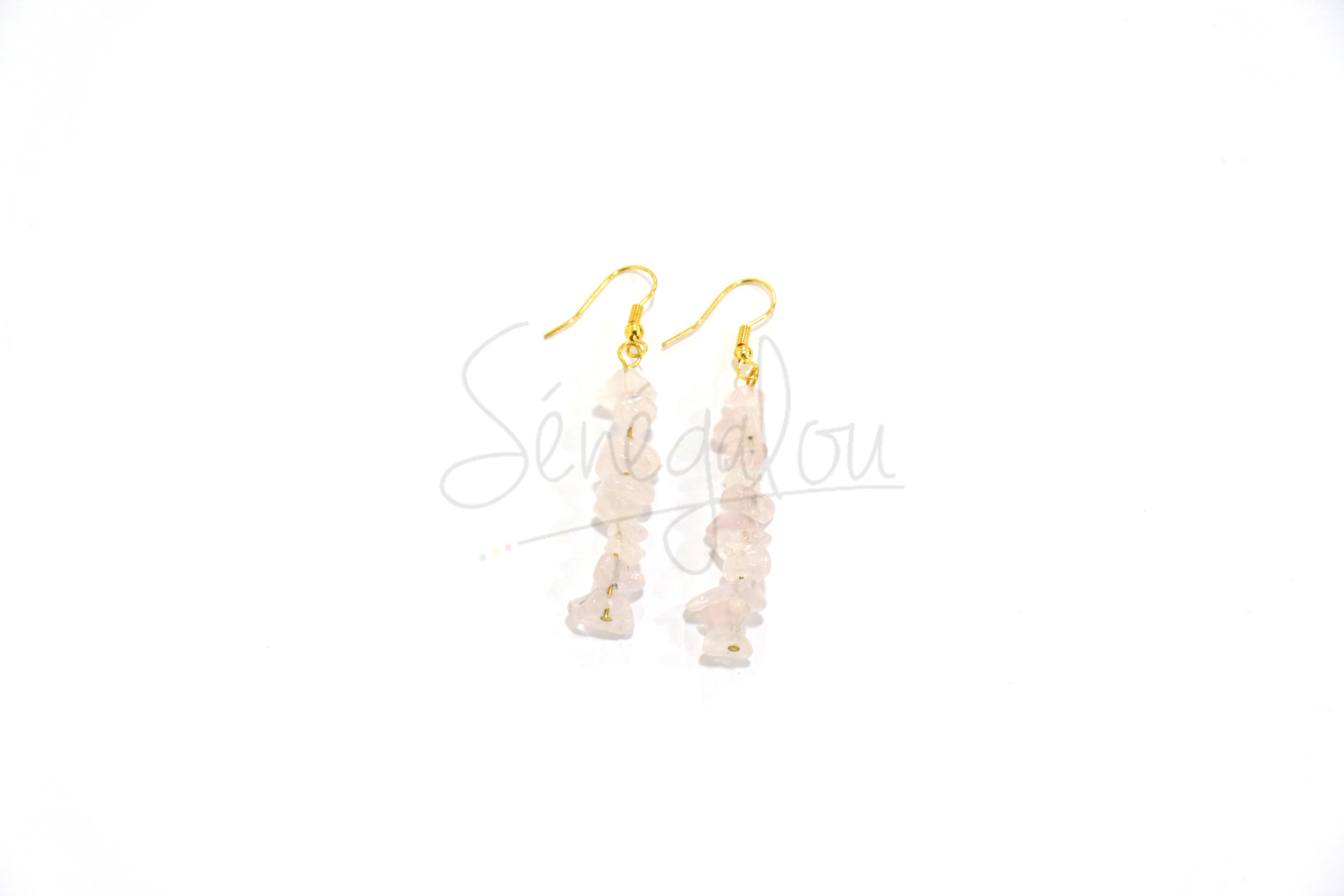 Boucles d'oreilles Quartz Rose 3.5cm