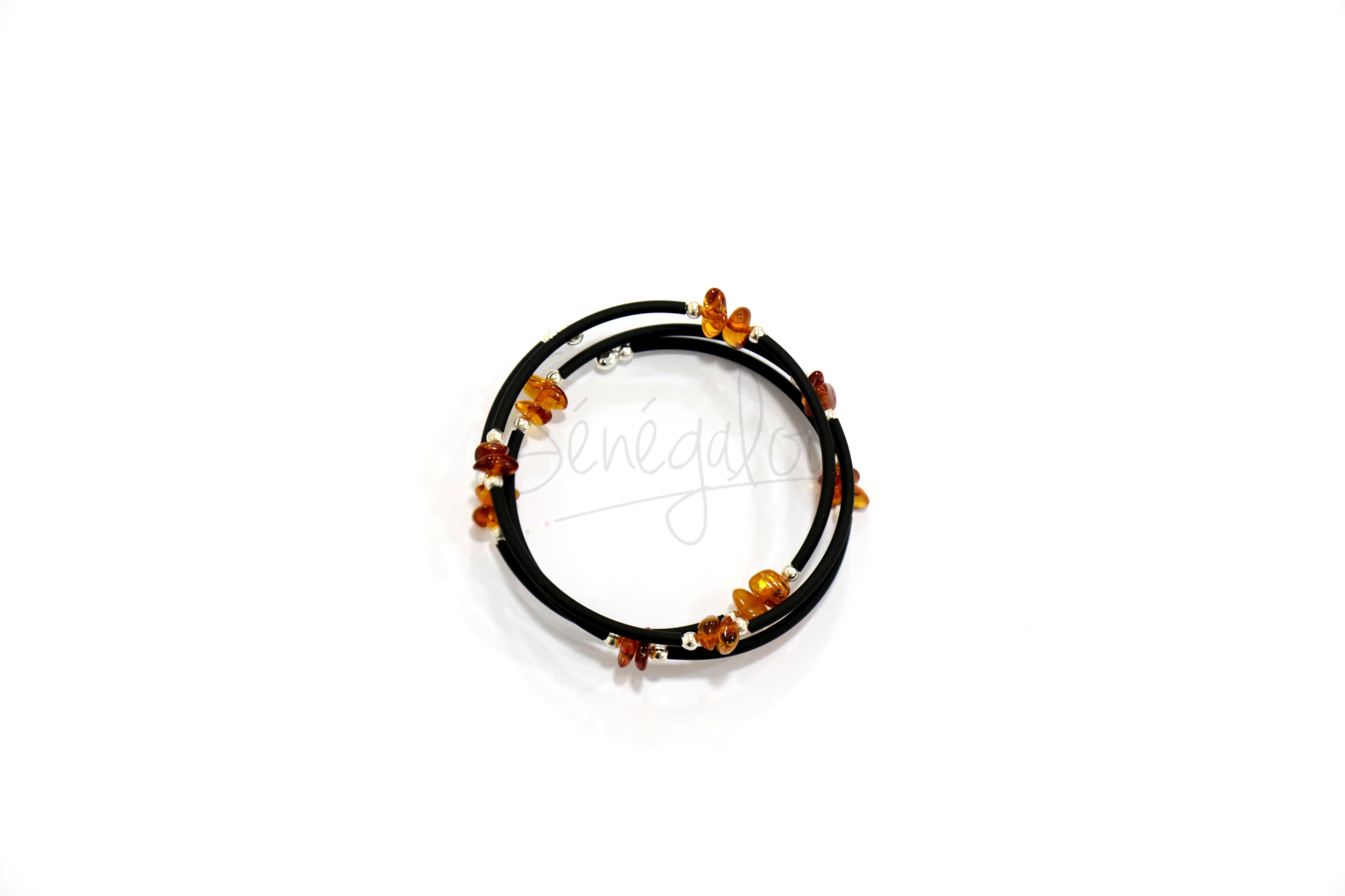 Bracelet Ambre Cordon Noir